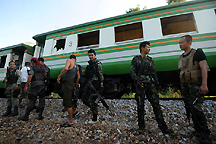 soldiers stop train